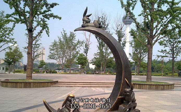 小兔子公园景观铜雕