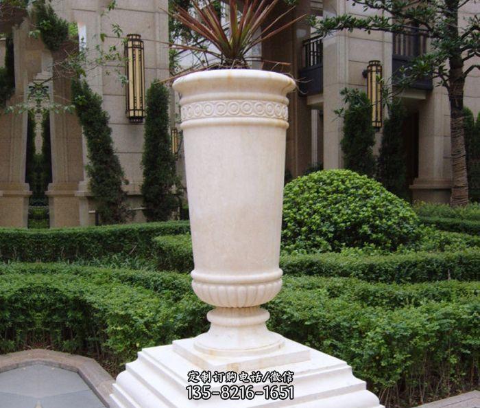 别墅景观汉白玉花盆石雕