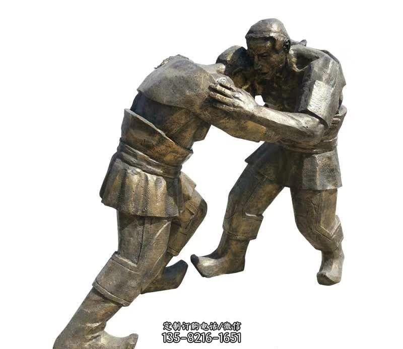 铜雕摔跤人物雕塑