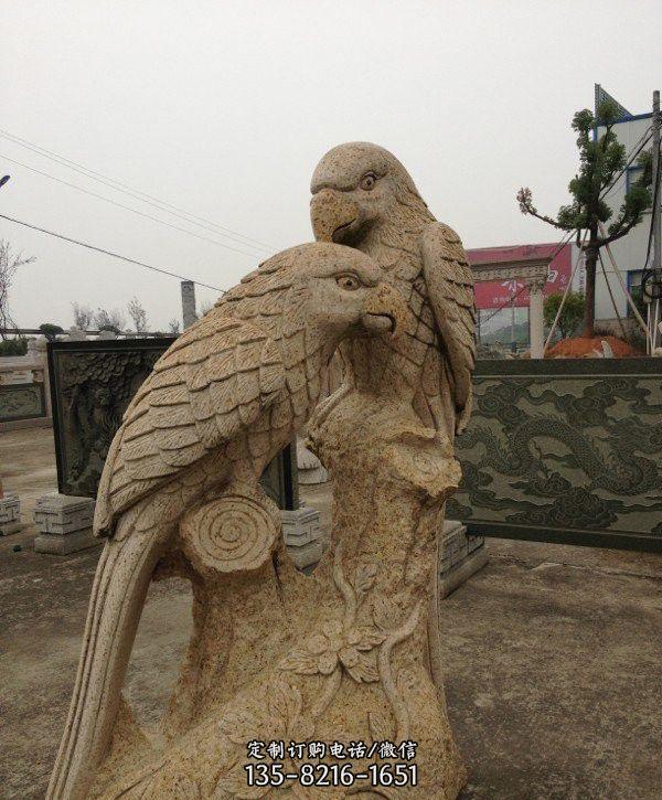砂岩鹦鹉石雕-石雕大力神