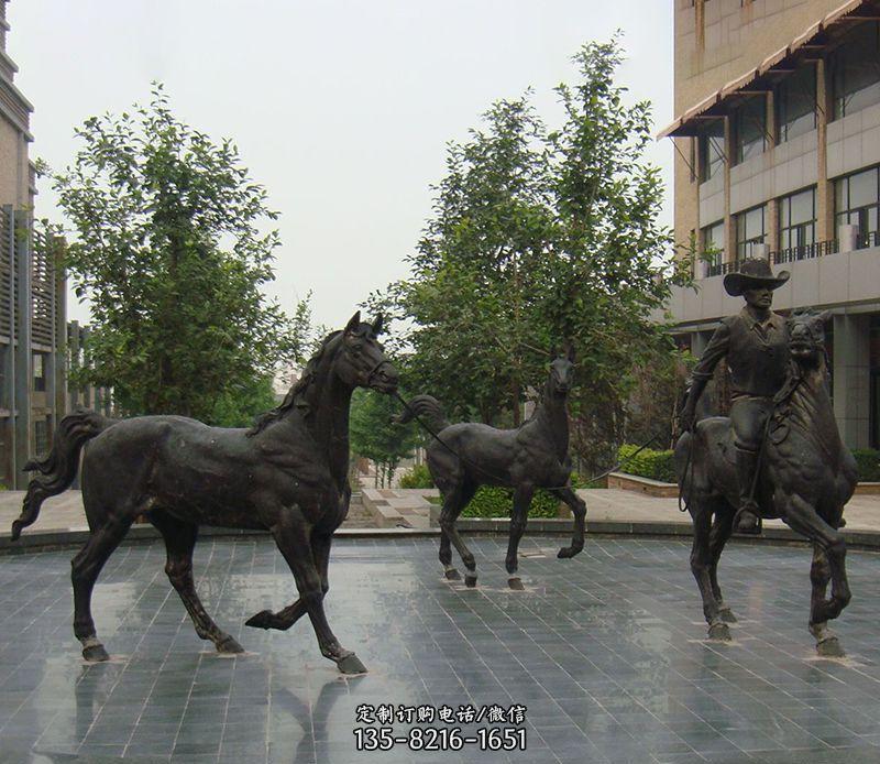 骑马人物广场景观公园动物铜雕