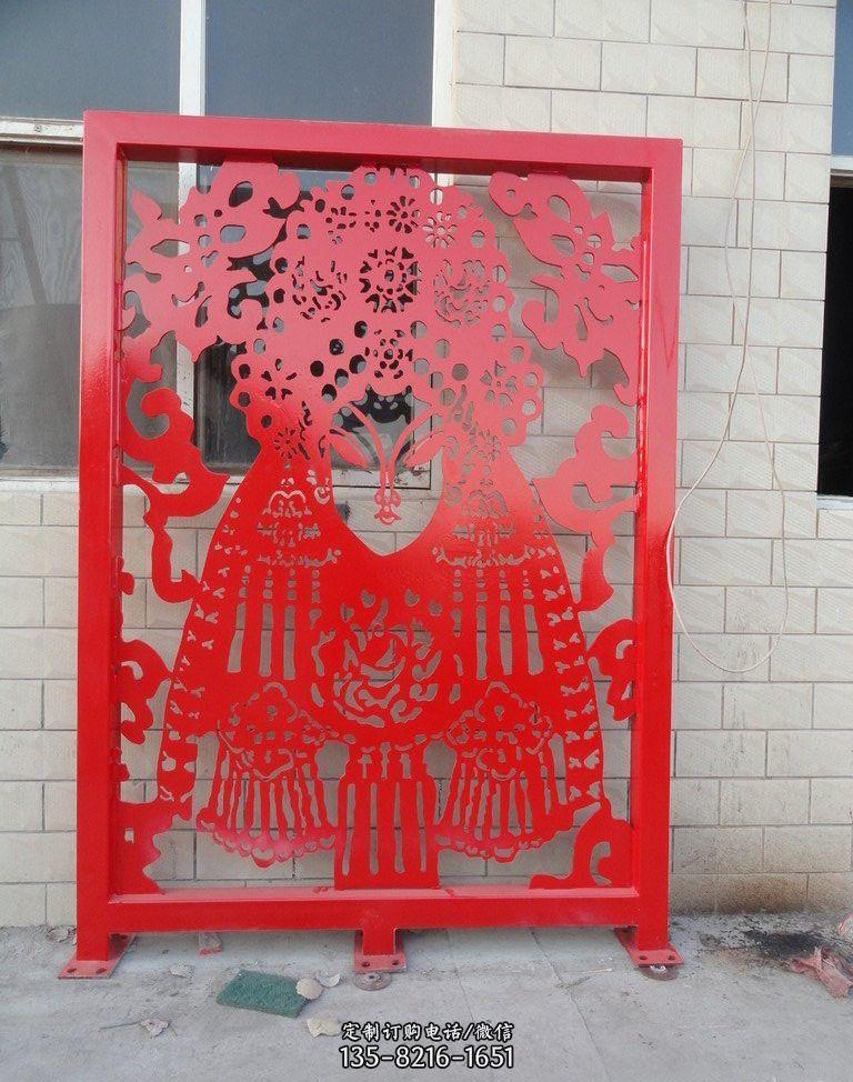 不锈钢剪纸戏曲人物雕塑