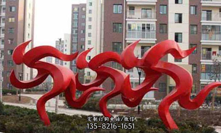 不锈钢奔跑抽象人物小区景观雕塑