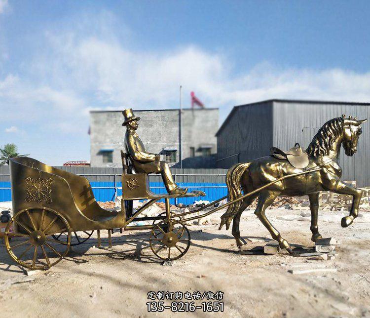 公园景观坐着马车的人物铜雕