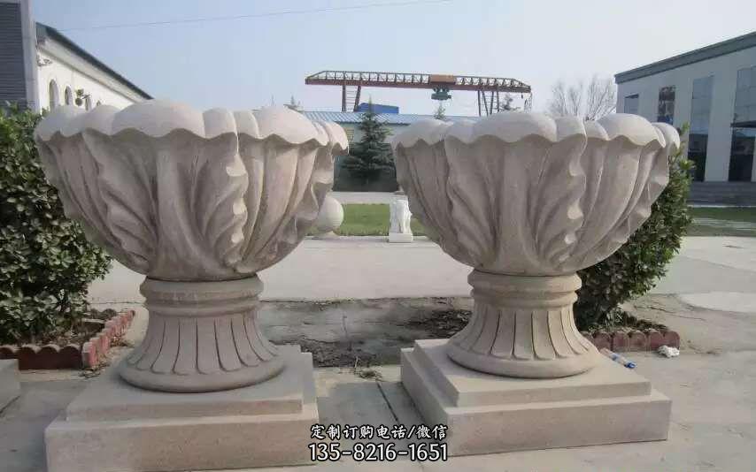 大理石花盆景观雕塑