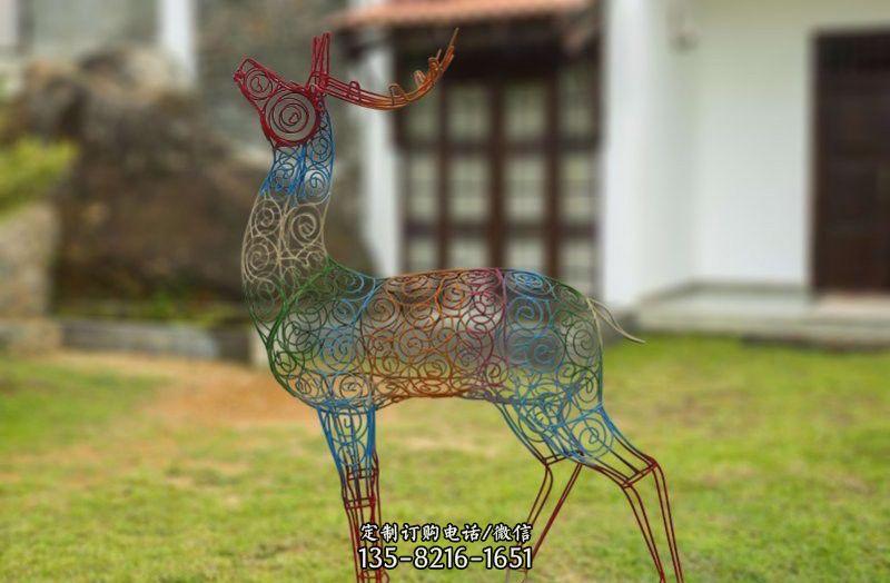 不锈钢彩色镂空梅花鹿