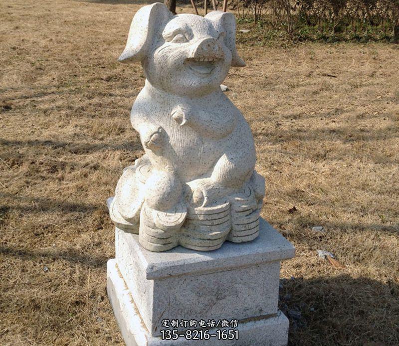 招财猪石雕-文登公园雕塑
