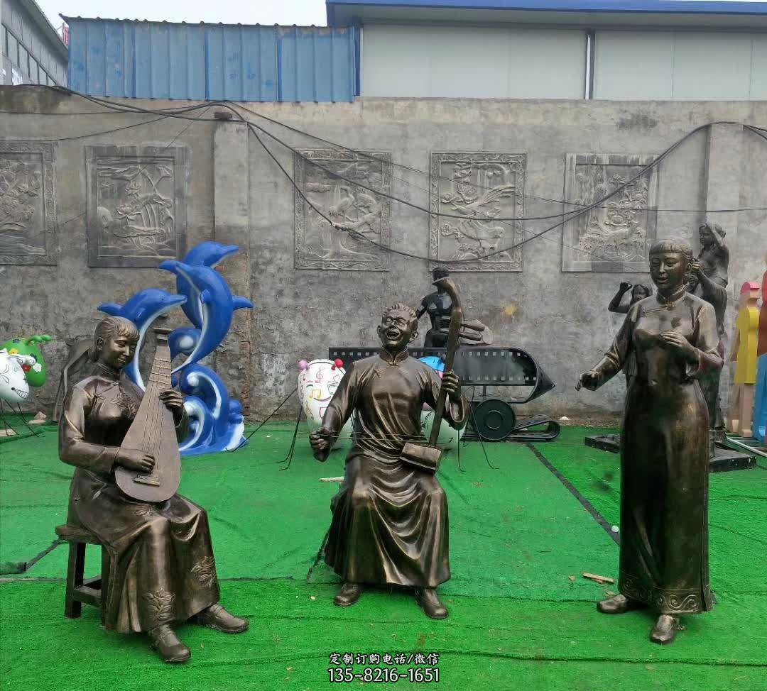 古代广场小品戏曲人物雕塑