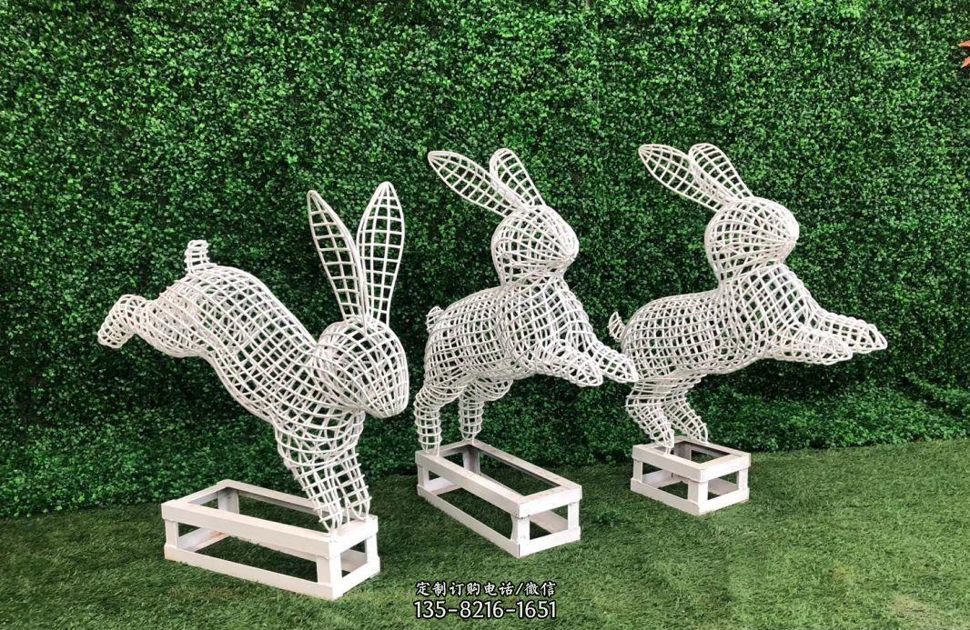 不锈钢镂空兔子雕塑公园动物雕塑
